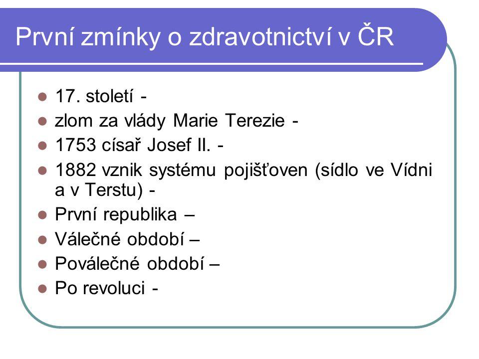 První zmínky o zdravotnictví v ČR
