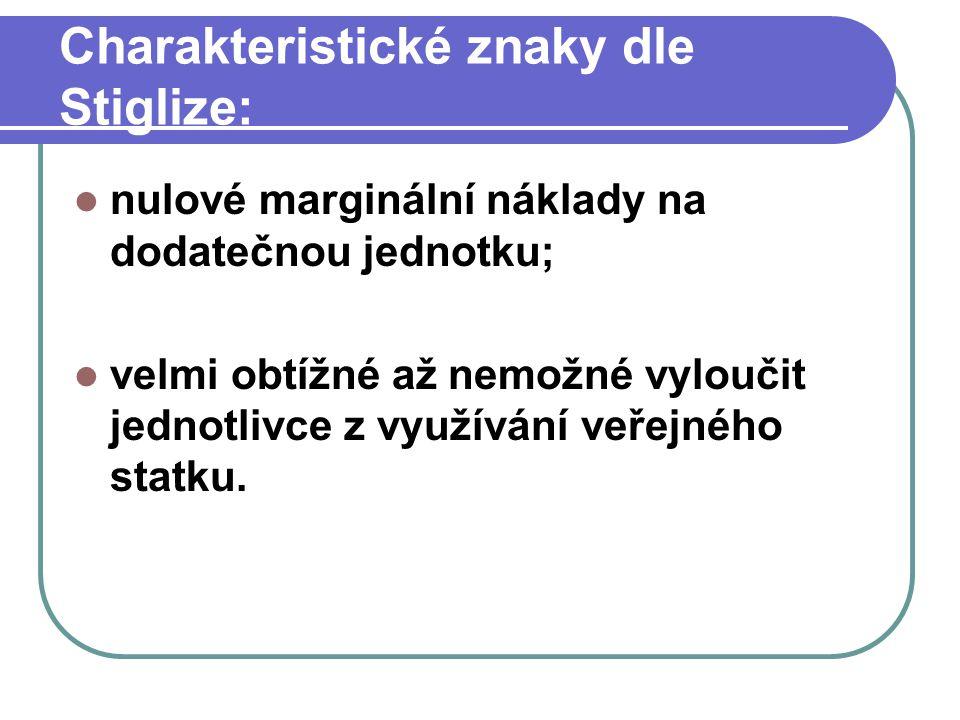 Charakteristické znaky dle Stiglize: