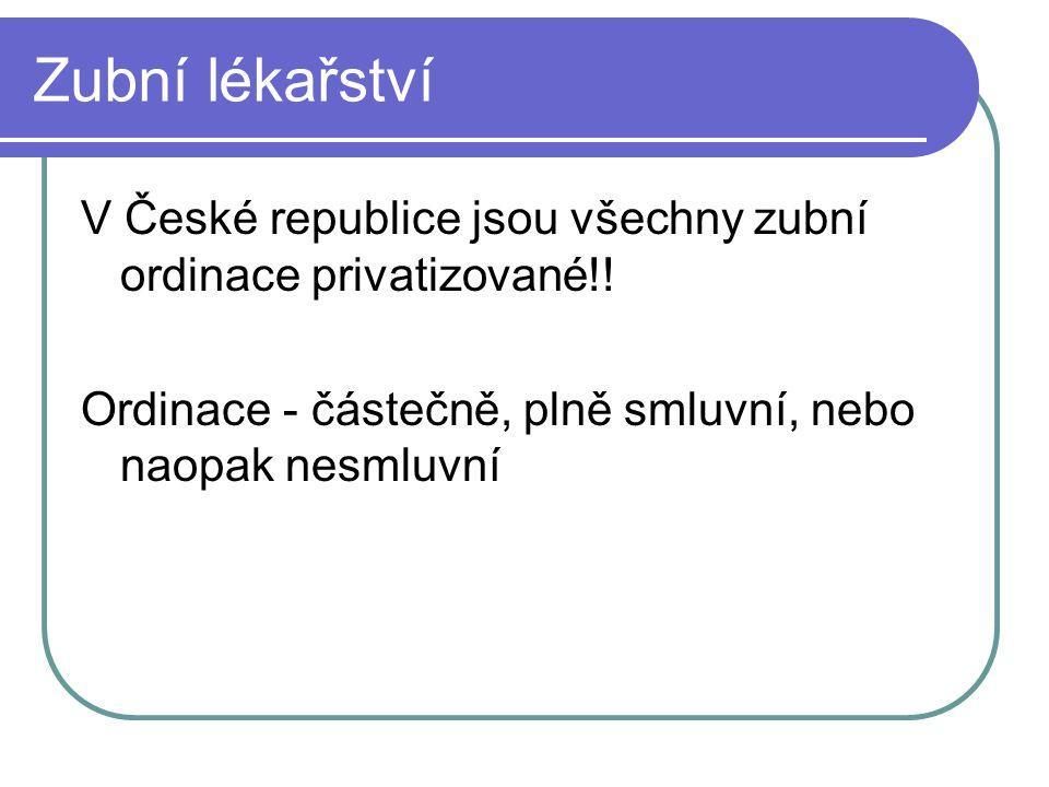 Zubní lékařství V České republice jsou všechny zubní ordinace privatizované!.