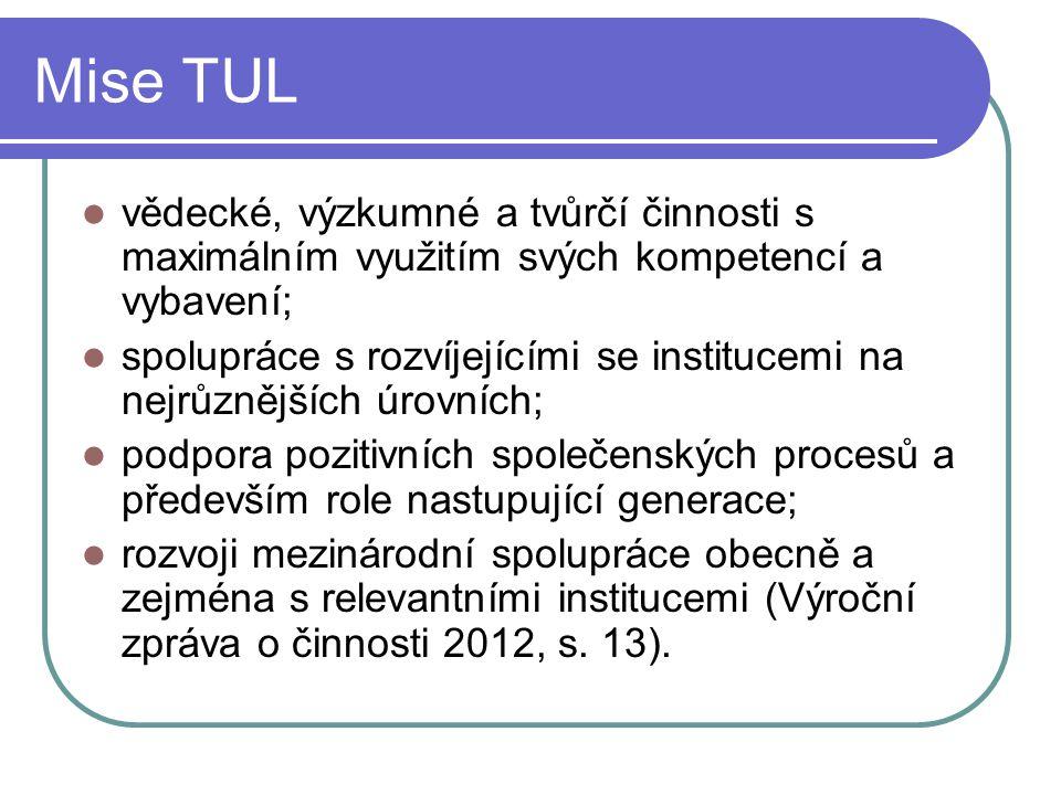 Mise TUL vědecké, výzkumné a tvůrčí činnosti s maximálním využitím svých kompetencí a vybavení;