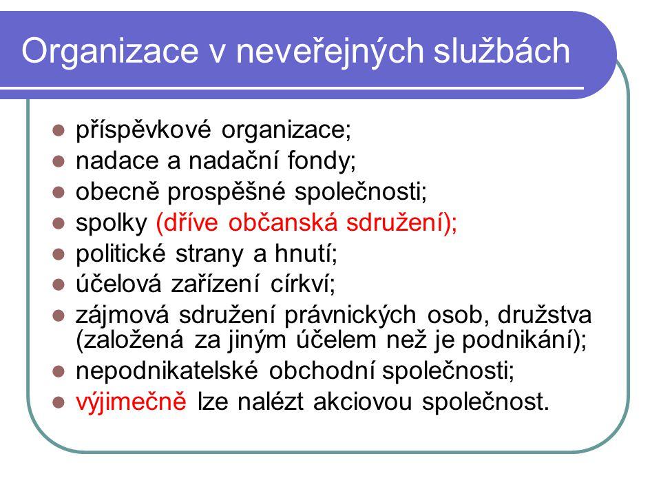 Organizace v neveřejných službách