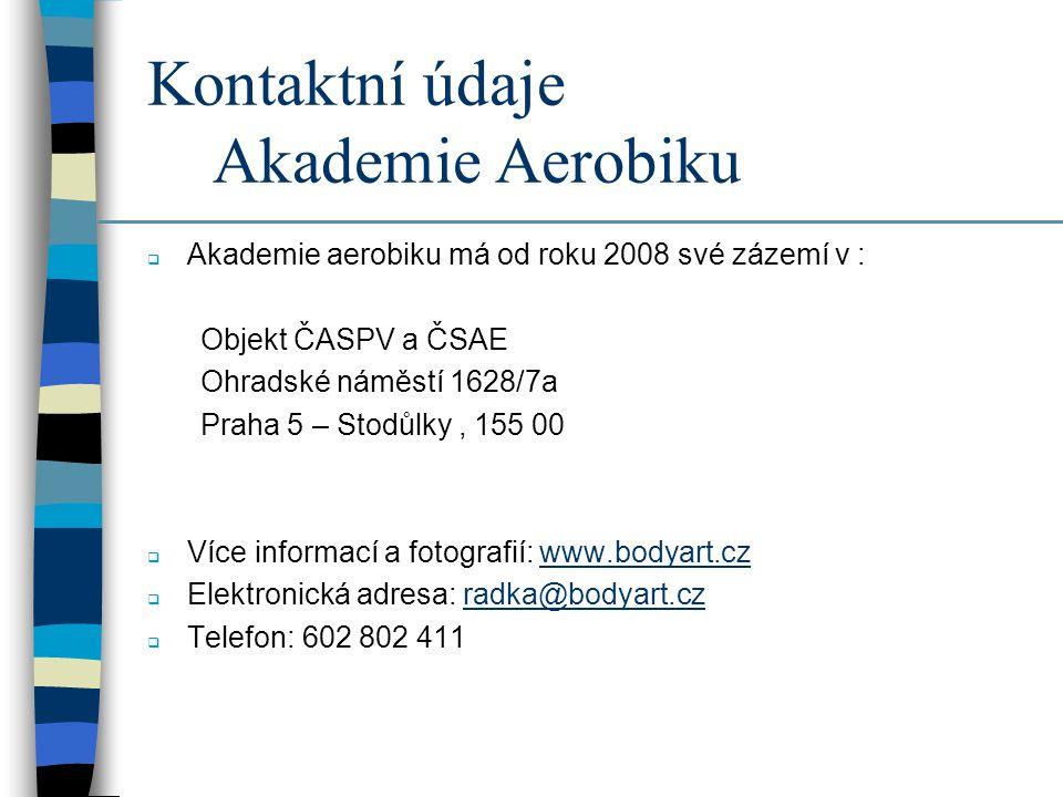Kontaktní údaje Akademie Aerobiku