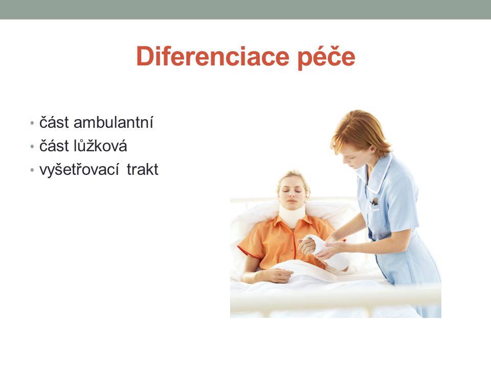 Diferenciace péče část ambulantní část lůžková vyšetřovací trakt
