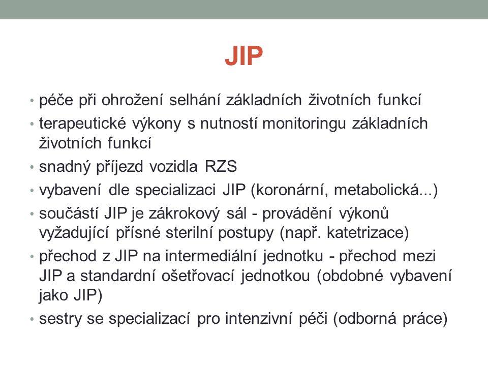JIP péče při ohrožení selhání základních životních funkcí
