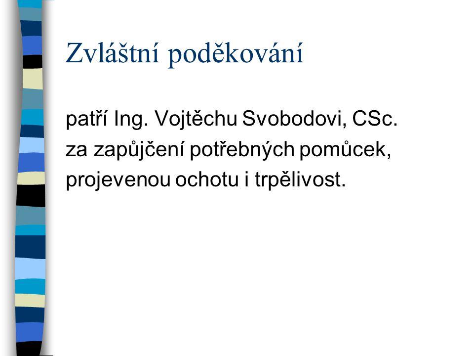 Zvláštní poděkování patří Ing. Vojtěchu Svobodovi, CSc.