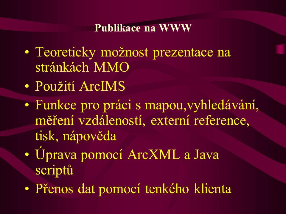 Teoreticky možnost prezentace na stránkách MMO Použití ArcIMS