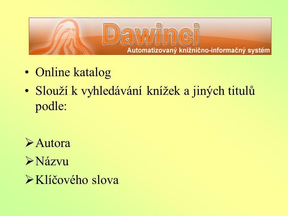 DAWINCI Online katalog