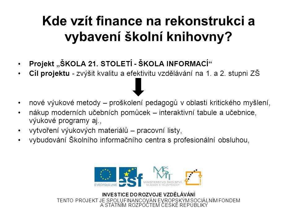 Kde vzít finance na rekonstrukci a vybavení školní knihovny