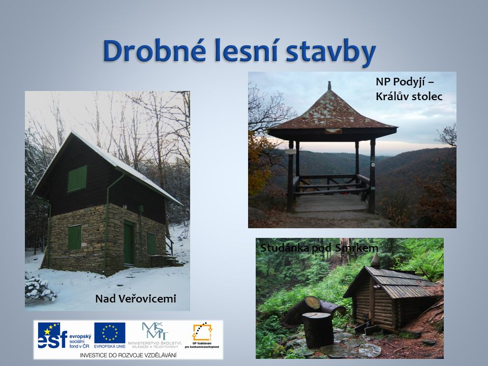 Drobné lesní stavby NP Podyjí – Králův stolec Studánka pod Smrkem