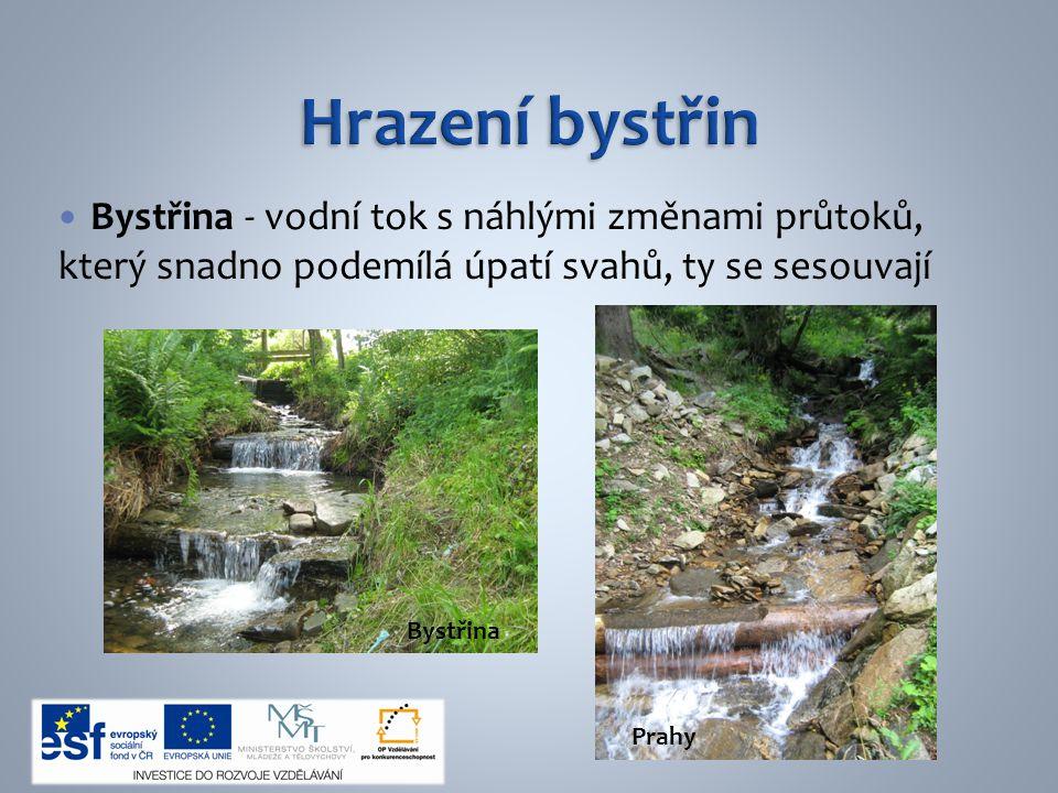 Hrazení bystřin Bystřina - vodní tok s náhlými změnami průtoků, který snadno podemílá úpatí svahů, ty se sesouvají.