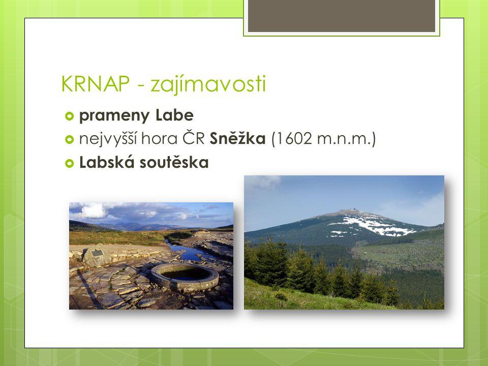 KRNAP - zajímavosti prameny Labe nejvyšší hora ČR Sněžka (1602 m.n.m.)