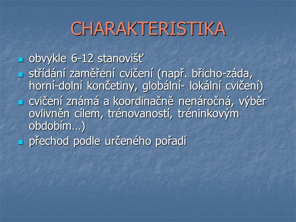 CHARAKTERISTIKA obvykle 6-12 stanovišť