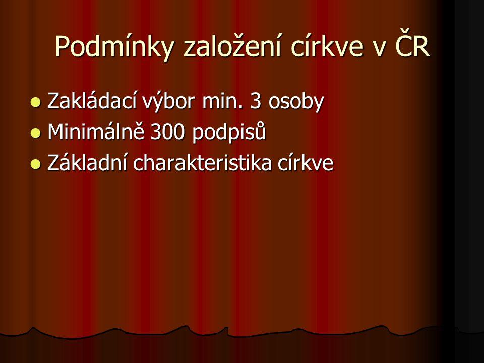 Podmínky založení církve v ČR