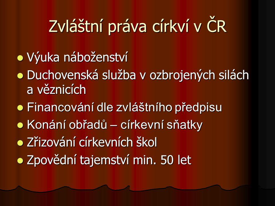 Zvláštní práva církví v ČR