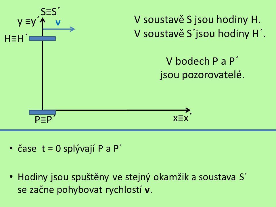 V bodech P a P´ jsou pozorovatelé.