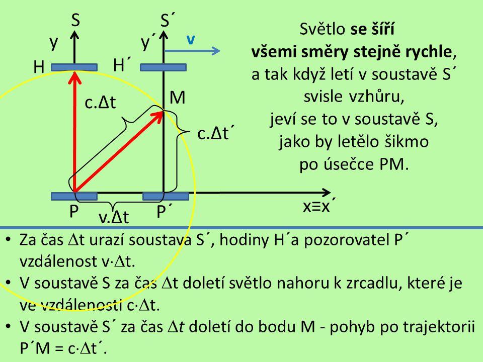 S S´ y y´ H H´ M c.∆t c.∆t´ x≡x´ P P´ v.∆t