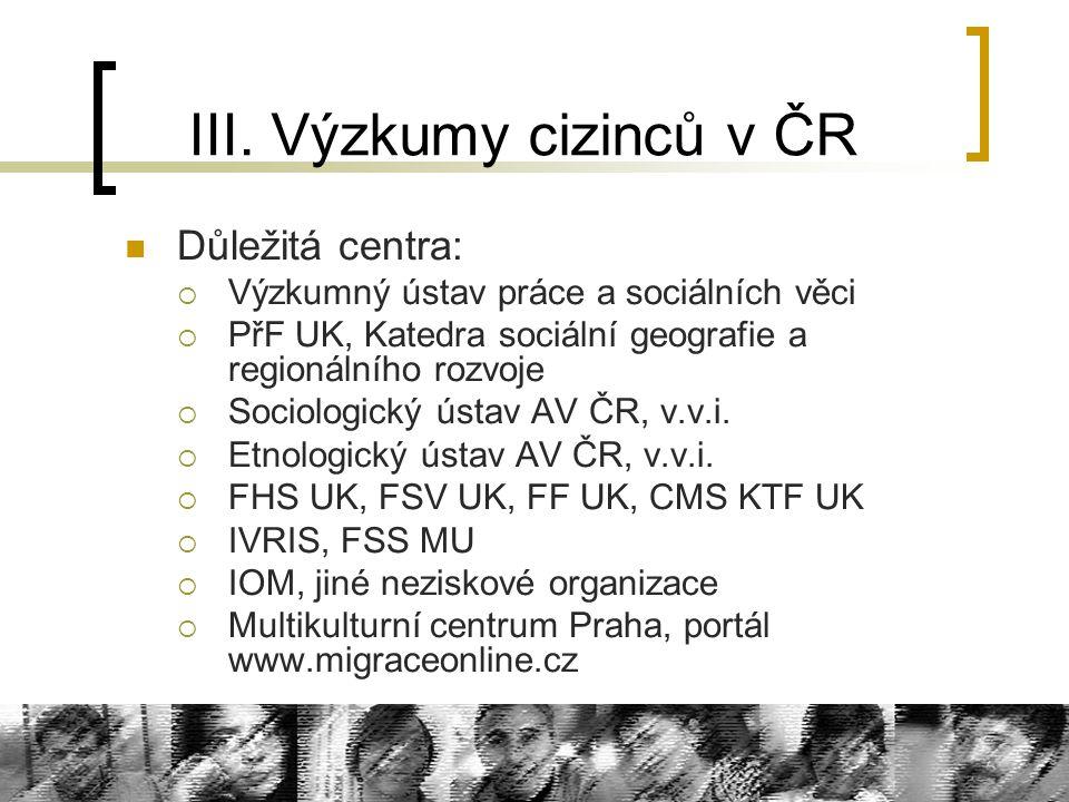 III. Výzkumy cizinců v ČR