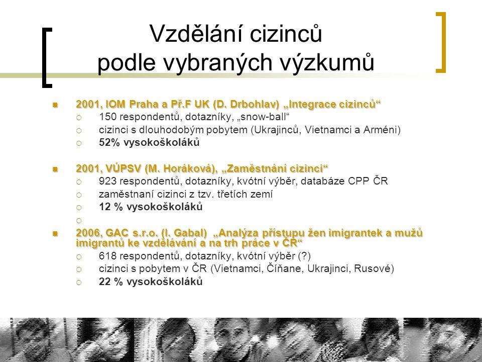 Vzdělání cizinců podle vybraných výzkumů