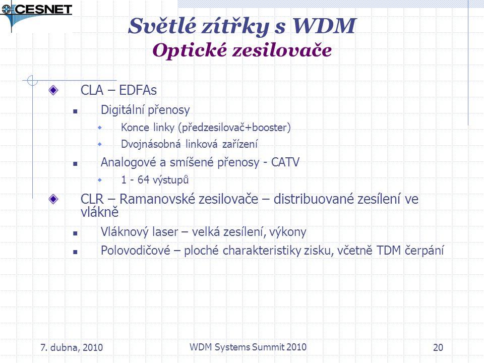 Světlé zítřky s WDM Optické zesilovače