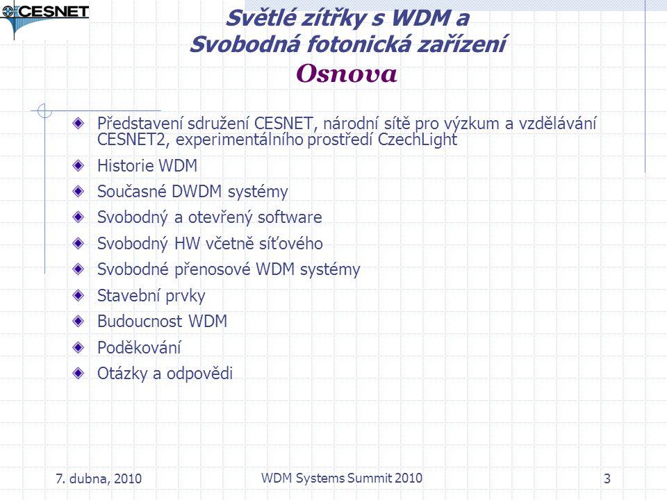 Světlé zítřky s WDM a Svobodná fotonická zařízení Osnova