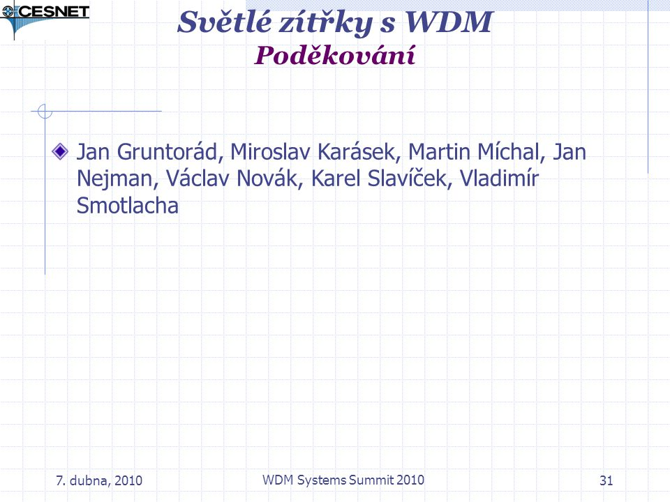 Světlé zítřky s WDM Poděkování