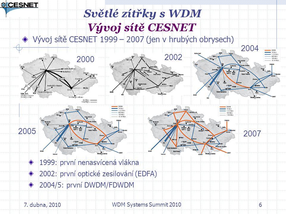 Světlé zítřky s WDM Vývoj sítě CESNET
