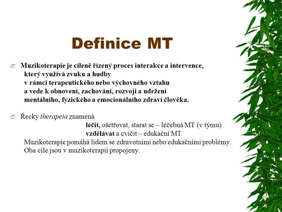Definice MT Muzikoterapie je cíleně řízený proces interakce a intervence, který využívá zvuku a hudby.