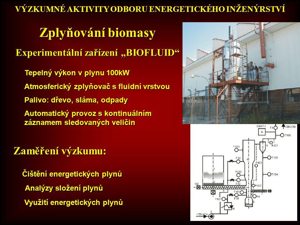 Zplyňování biomasy Zaměření výzkumu: