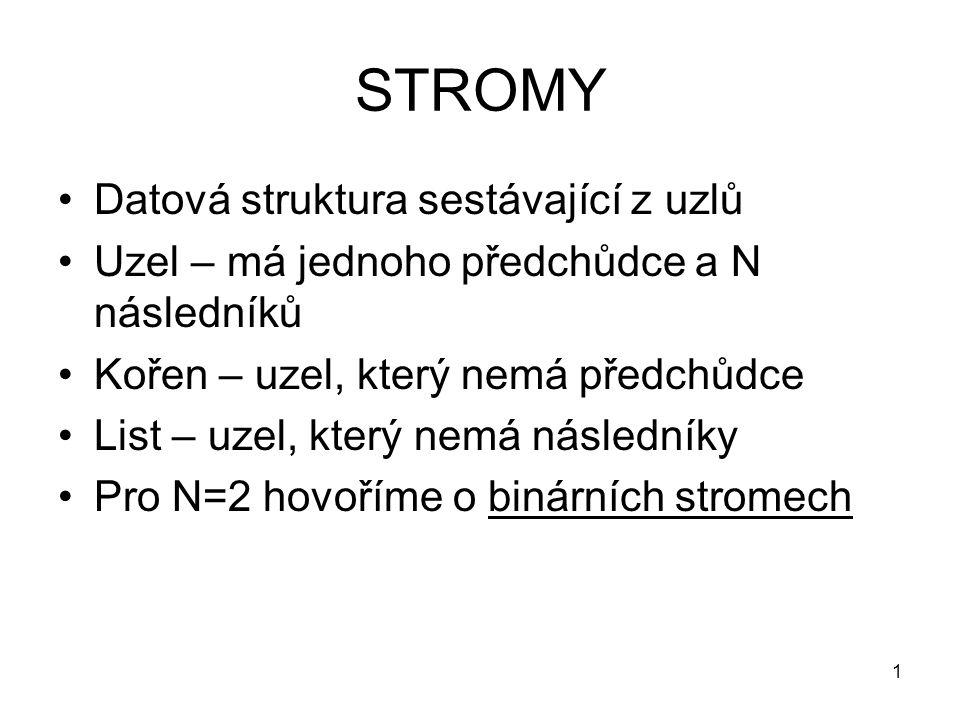 STROMY Datová struktura sestávající z uzlů