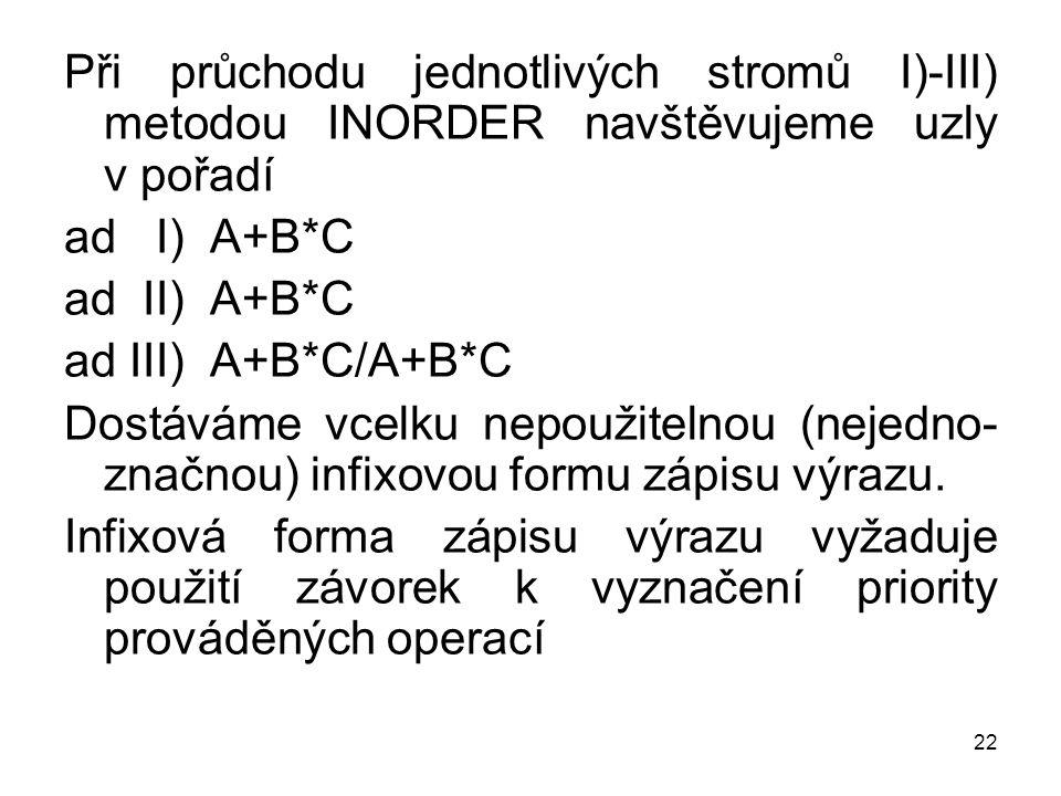 Při průchodu jednotlivých stromů I)-III) metodou INORDER navštěvujeme uzly v pořadí