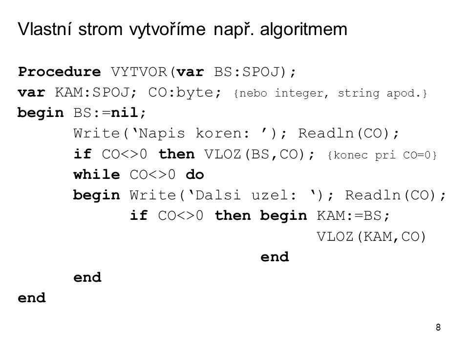 Vlastní strom vytvoříme např. algoritmem
