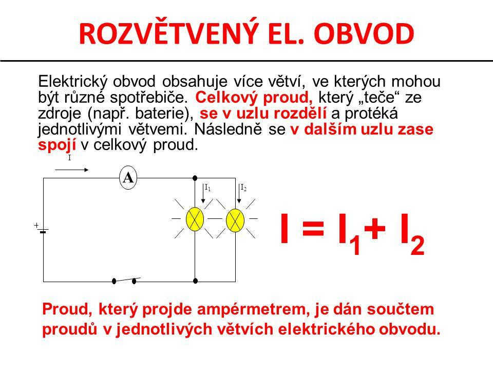 I = I1+ I2 ROZVĚTVENÝ EL. OBVOD