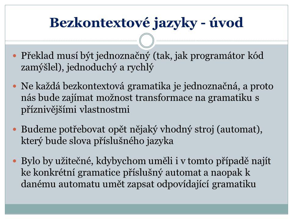 Bezkontextové jazyky - úvod