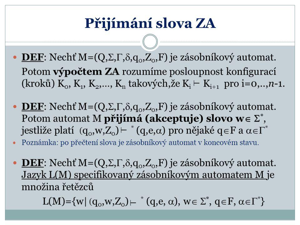 Přijímání slova ZA DEF: Nechť M=(Q,,,,q0,Z0,F) je zásobníkový automat.
