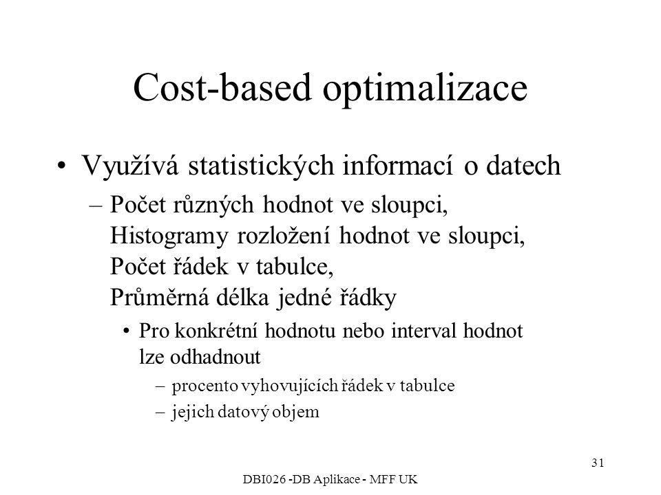 Cost-based optimalizace