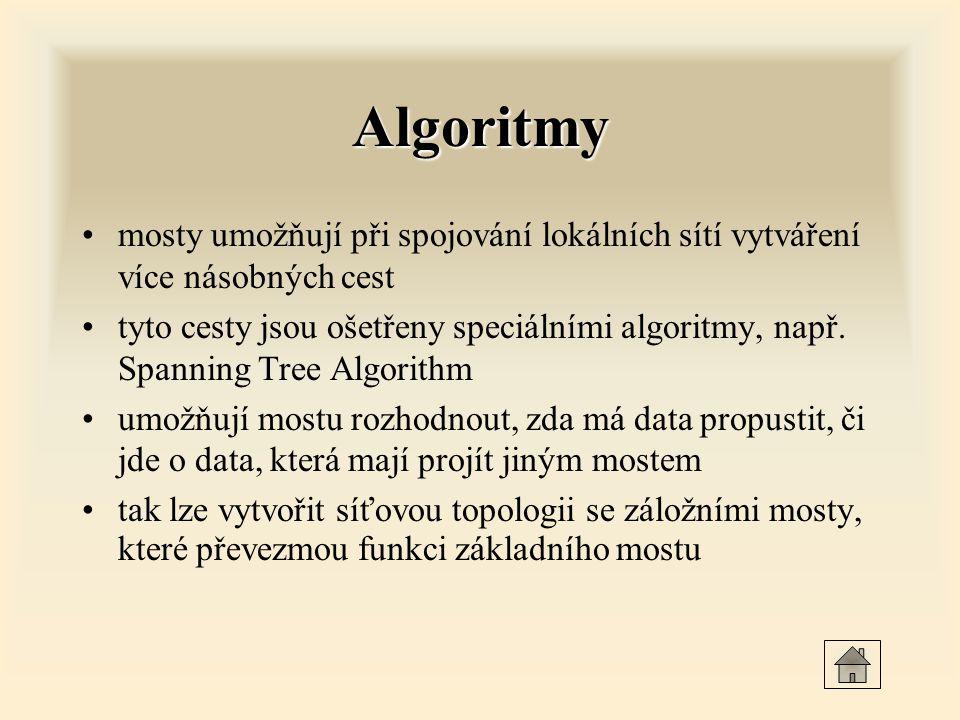 Algoritmy mosty umožňují při spojování lokálních sítí vytváření více násobných cest.