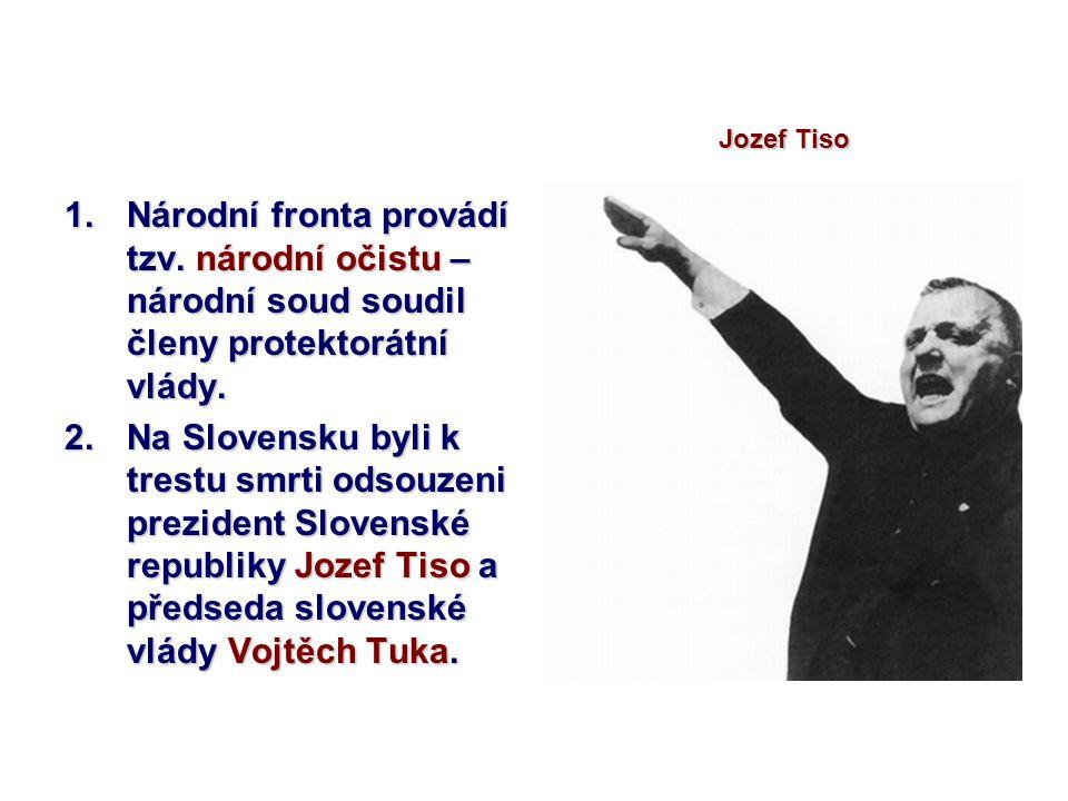 Jozef Tiso Národní fronta provádí tzv. národní očistu – národní soud soudil členy protektorátní vlády.