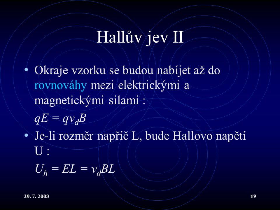 Hallův jev II Okraje vzorku se budou nabíjet až do rovnováhy mezi elektrickými a magnetickými silami :