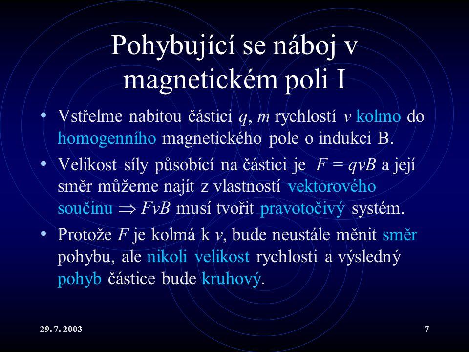 Pohybující se náboj v magnetickém poli I