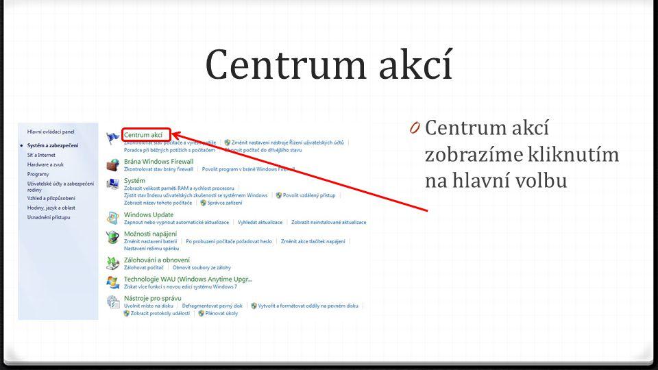 Centrum akcí Centrum akcí zobrazíme kliknutím na hlavní volbu