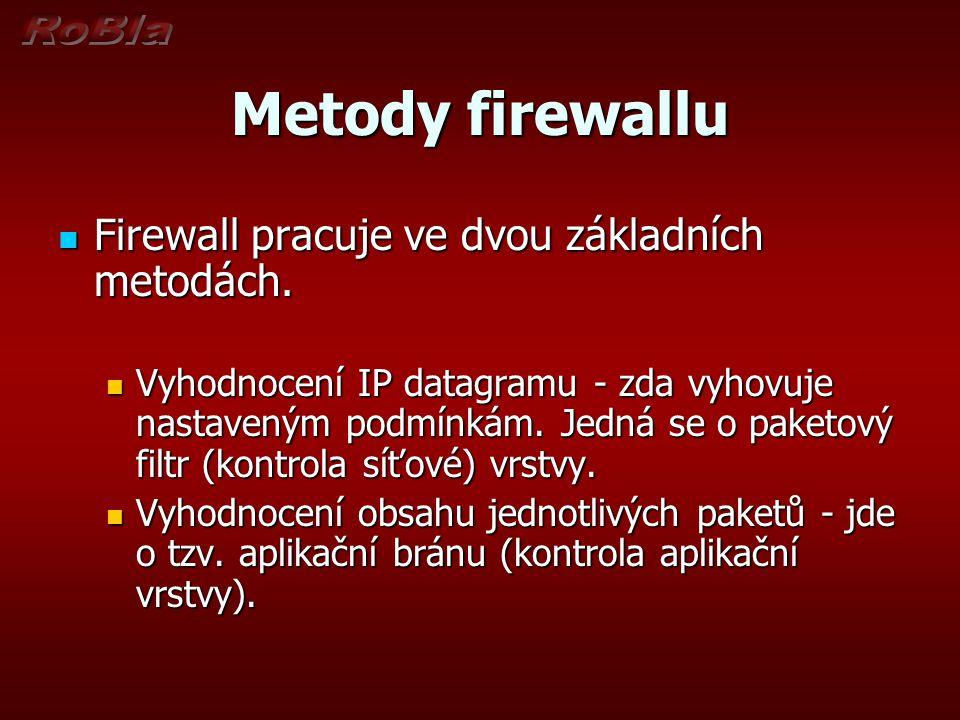 Metody firewallu Firewall pracuje ve dvou základních metodách.