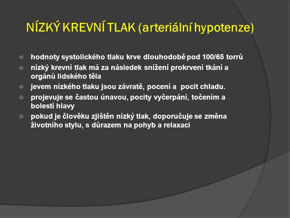 NÍZKÝ KREVNÍ TLAK (arteriální hypotenze)
