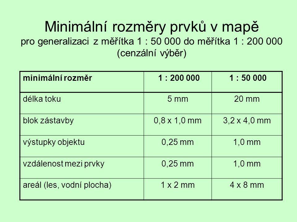 Minimální rozměry prvků v mapě pro generalizaci z měřítka 1 : 50 000 do měřítka 1 : 200 000 (cenzální výběr)