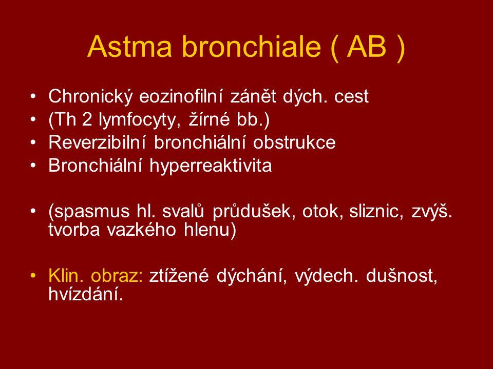 Astma bronchiale ( AB ) Chronický eozinofilní zánět dých. cest