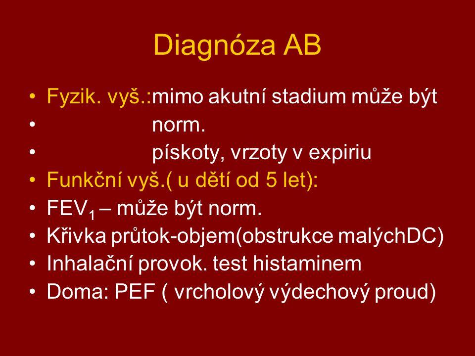 Diagnóza AB Fyzik. vyš.:mimo akutní stadium může být norm.