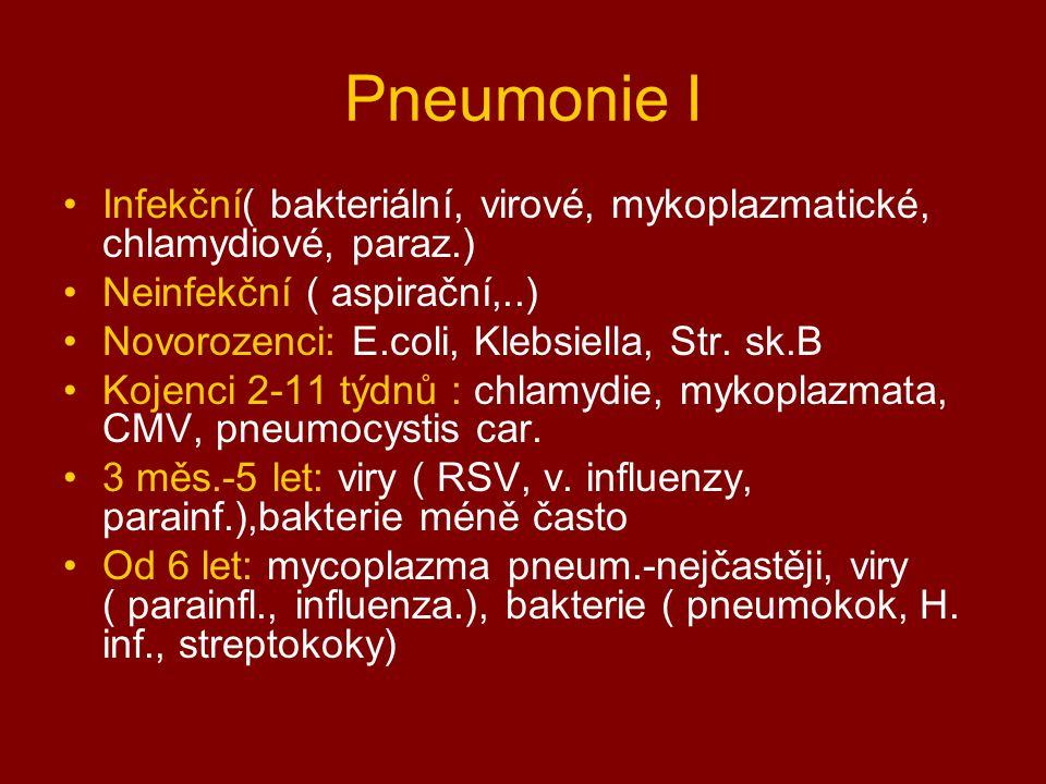 Pneumonie I Infekční( bakteriální, virové, mykoplazmatické, chlamydiové, paraz.) Neinfekční ( aspirační,..)