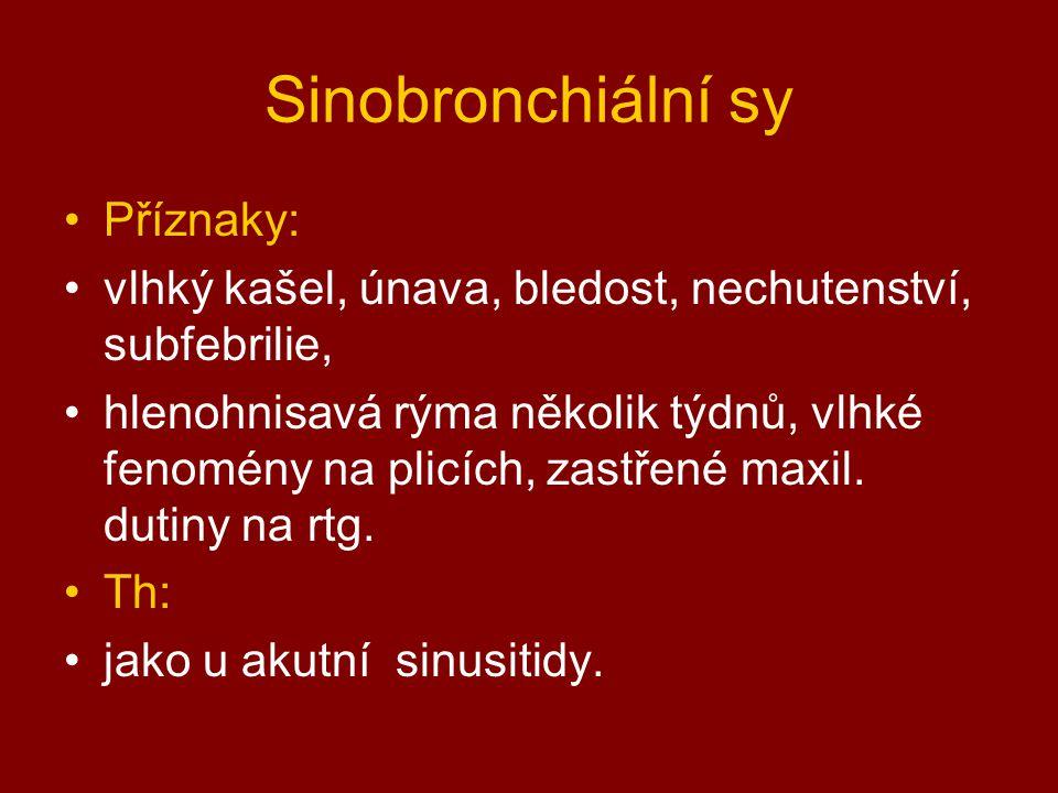 Sinobronchiální sy Příznaky: