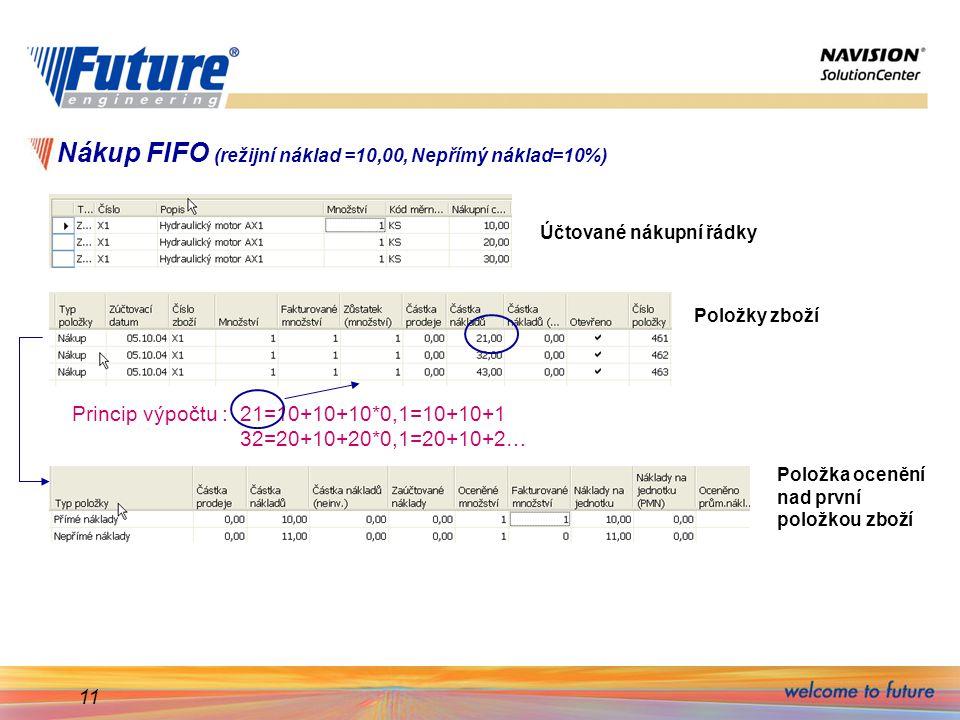 Nákup FIFO (režijní náklad =10,00, Nepřímý náklad=10%)