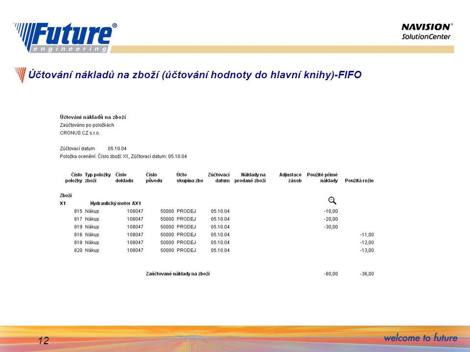 Účtování nákladů na zboží (účtování hodnoty do hlavní knihy)-FIFO