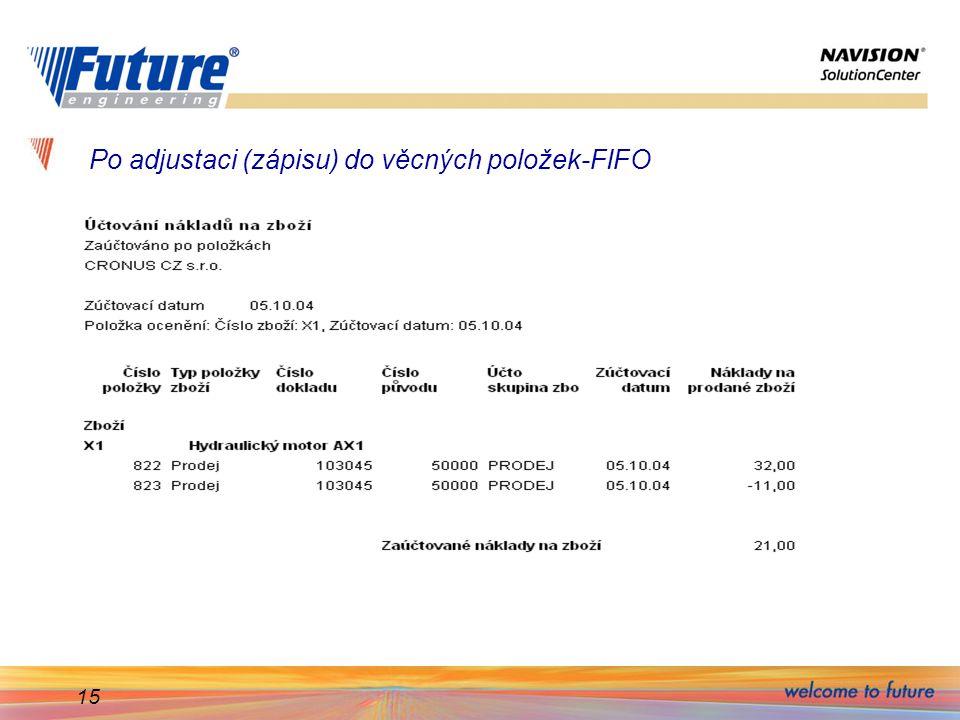 Po adjustaci (zápisu) do věcných položek-FIFO